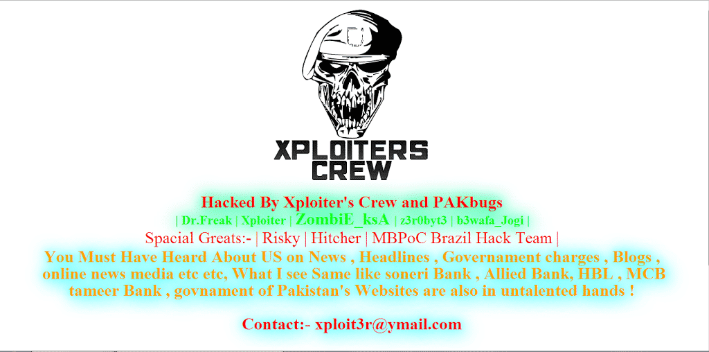 12 Pakistani Government Websites Got Hacked by Xploiter's Crew