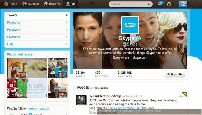 Twitter Account of Skype hacked, Microsoft is the latest victim of Syrian Electronic Army (SEA)