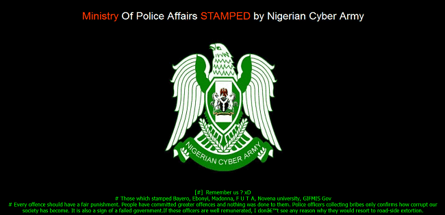 Official website of Ministry of Police Affairs of Nigeria hacked and defaced by hackers.