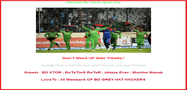 Official website of The Board Of Control For Cricket In India (BCCI) hacked and defaced by Bangladeshi hackers.