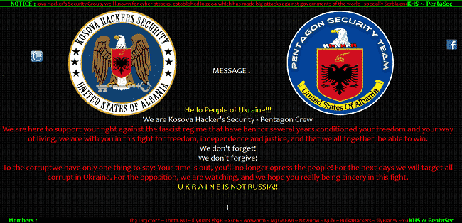 Hackers launches cyber attack over ukrainian government, several websites hacked and defaced.