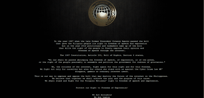 Anonymous Philippines hacks and deface several Government websites of Philippines protesting against Internet Censorship.