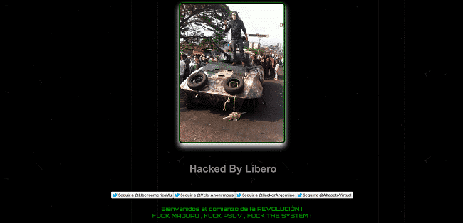 Several Venezulelan Government websites hacked and defaced, database leaked as a protest on Government.