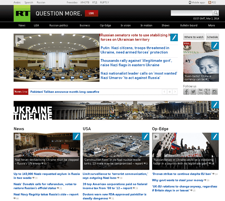 "Media Giant Russia today hacked, hacker place ""Nazi"" in every headline."