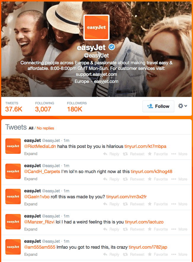 British Airline Carrier easyJet's Twitter Account hijacked, hacker fails to redirect Followers to Phishing site.