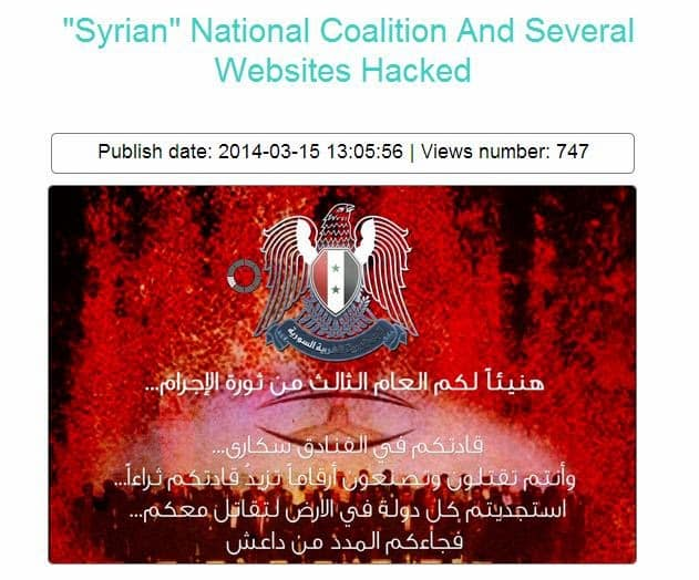 Syrian Electronic Army hacks pro-rebel coalitions websites, says it will leak Microsoft and FBI Documents soon