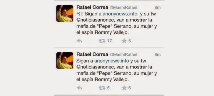 Twitter Account of Ecuador's president Rafael Correa hacked