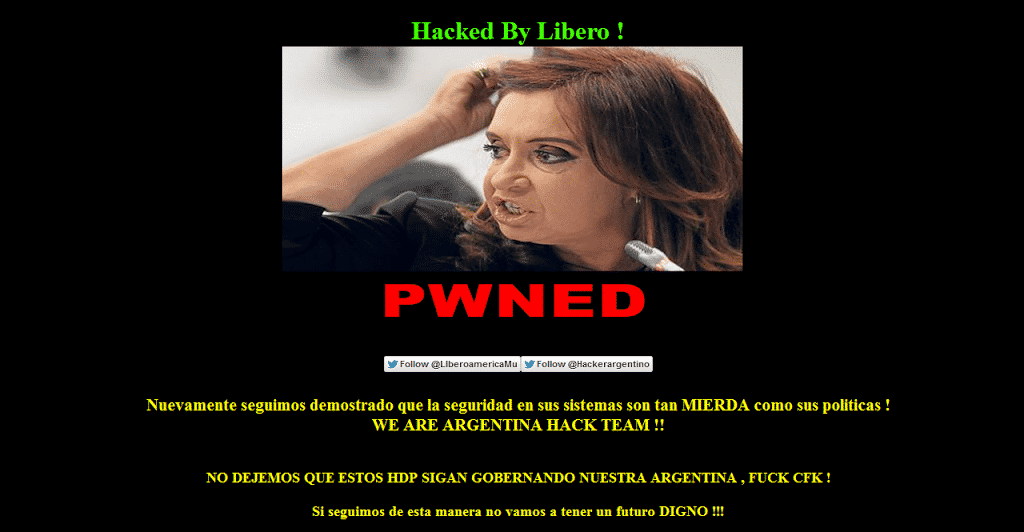 Several Government websites of Argentina hacked and defaced by Team hacking Argentina