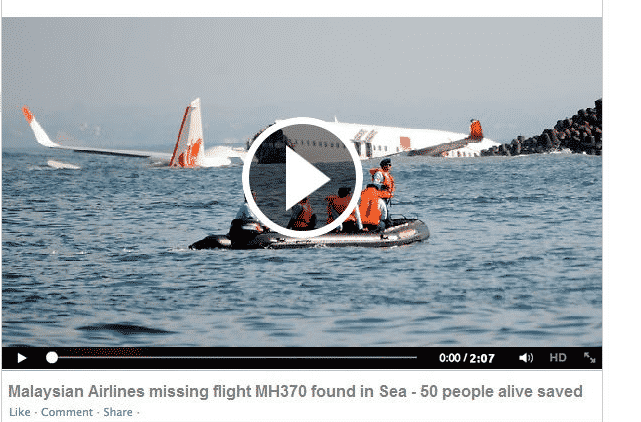 Malaysian Airlines Flight MH370 Videos Scam making rounds over Facebook and twitter