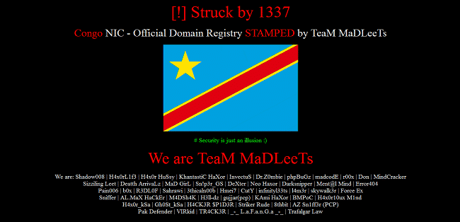 Nic.cd hacked several other High level domains of Democratic Republic of Congo hacked and defaced too.