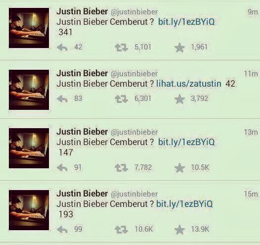 Justin Bieber's twitter Account hijacked, Malicious link tweeted to over 50 Million followers.