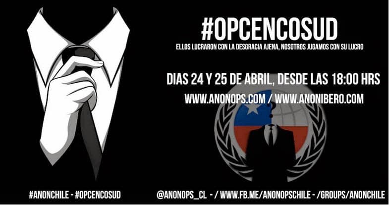 Anonymous Chile yesterday announced the launch of a new operation called #OpCencosud to bring the world attention to the plight of ordinary Chileans due to alleged illegal profiteering during the Chile's recent calamities.