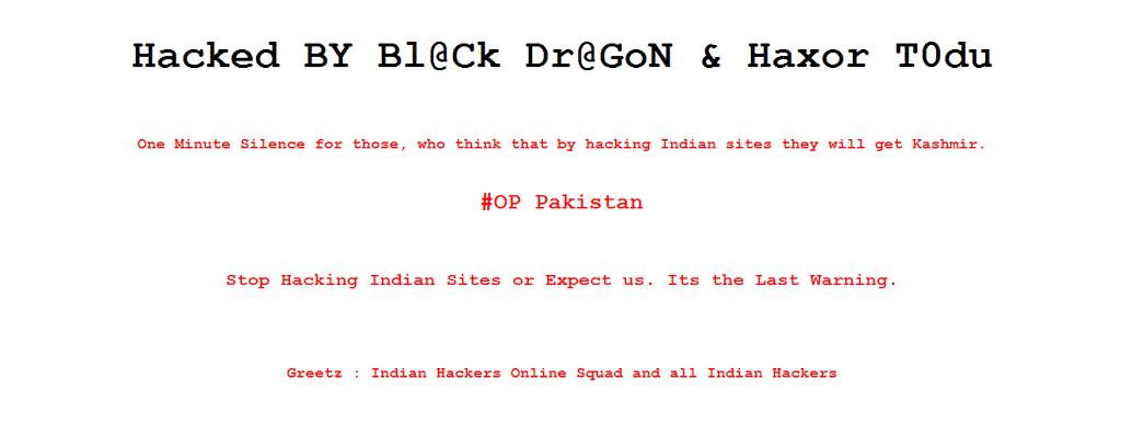Indian hackers retaliate, deface's Pakistani Government websites