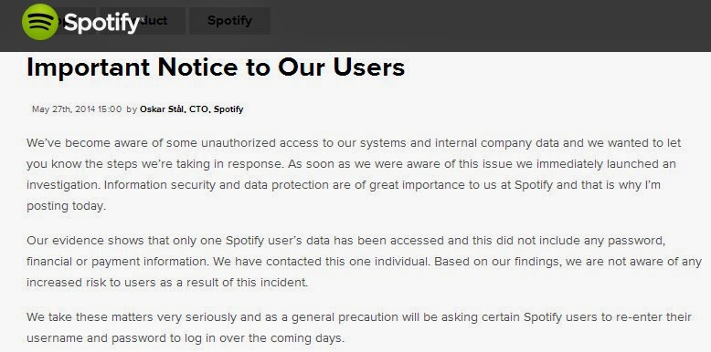 Spotify hacked and hackers access data of only one user; Spotify asks its users to reset password