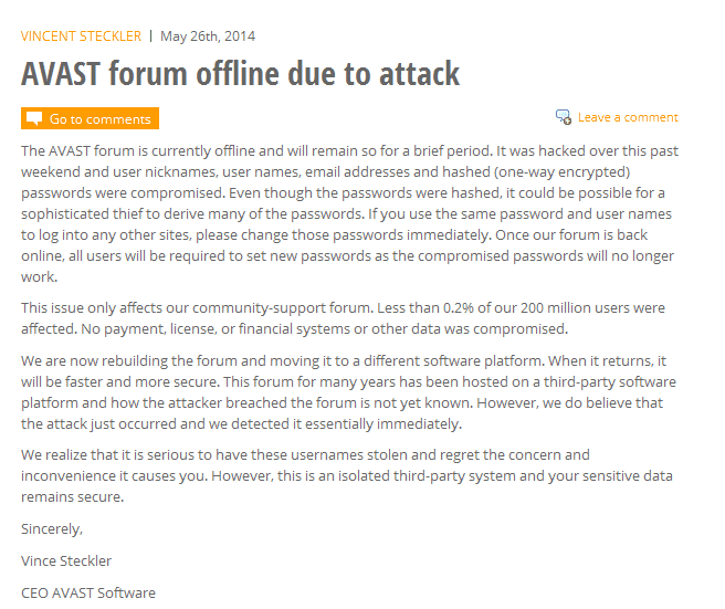 Avast Forum hacked, Login Credentials of 400,000 users Compromised