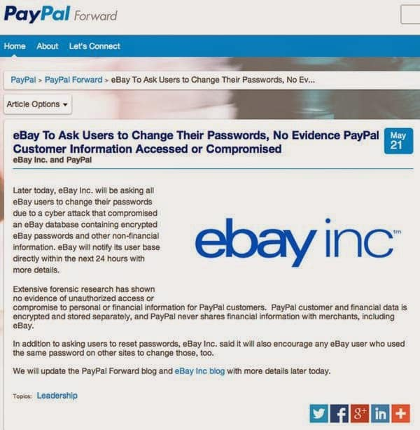Ebay Hacked User Data May Have Been Breached Advises Users To