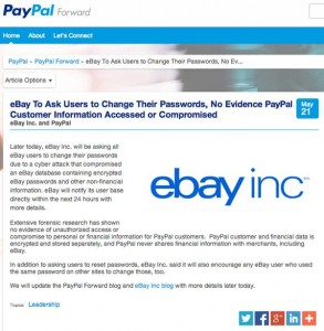 eBay confirms security breach. Users asked to change passwords