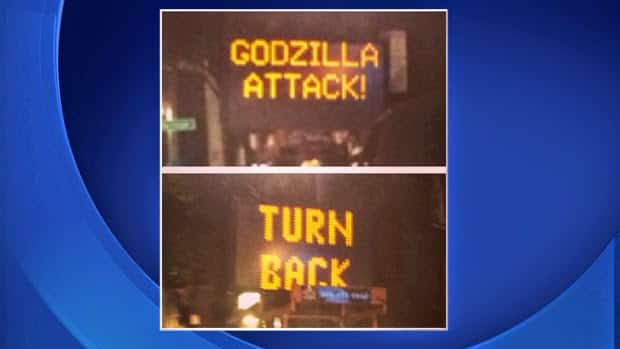 San Francisco Traffic sign hacked to warn travellers of Godzilla Attack