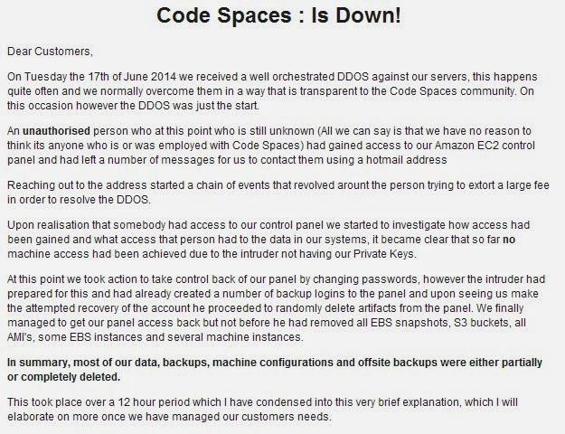 Codes Spaces shut down after a massive 12 hour DDoS attack, several gigs worth of data lost