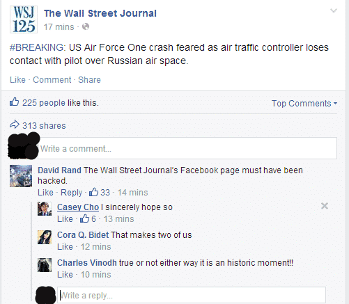 Unknown hackers hijack The Wall Street Journal's Facebook account and post crash reports of AIR FORCE ONE