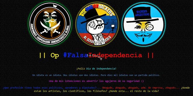 Anonymous CCG, Colombian Hackers & Team Hack Argentino unites to hack Colombian Government websites under Operation #FalsaIndependencia