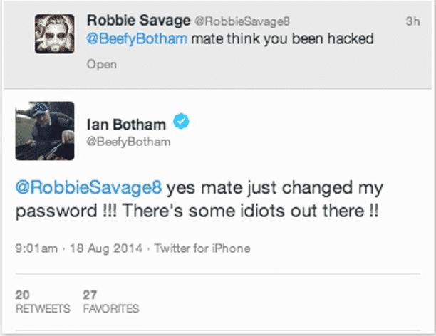 Sir Ian Botham's Twitter account hacked; hacker tweets a NSFW image on Bothams timeline