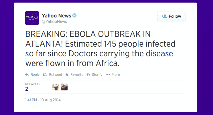 Yahoo News Twitter Account Hacked, Sends Tweet About Ebola Outbreak
