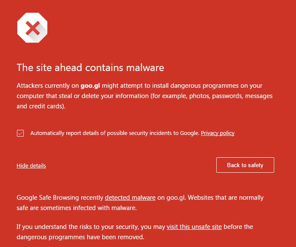 Google blocks its own URL shortening service goo.gl for malware.
