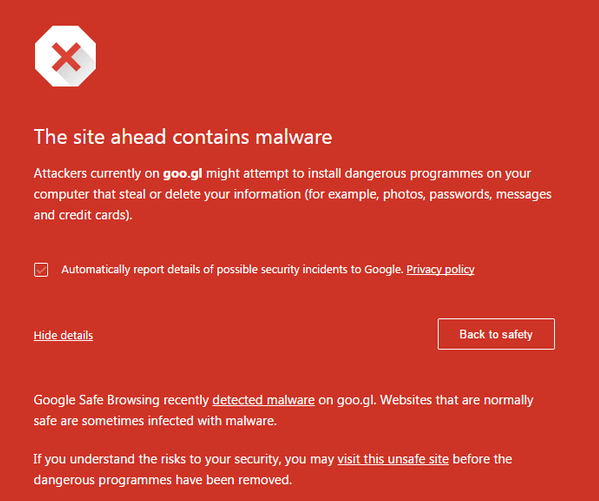 Google blocks its own URL shortening service goo.gl for malware.