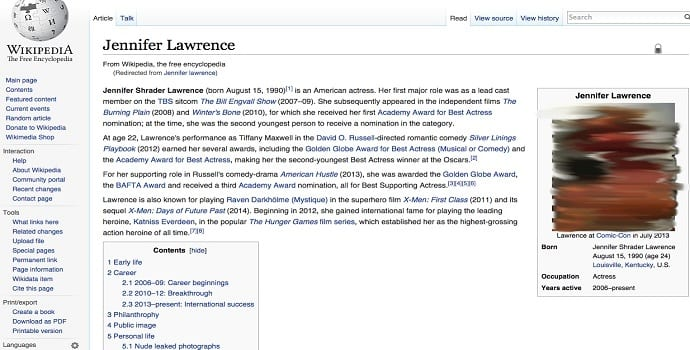Jennifer Lawrence's Wikipedia Page Defaced to Show 'au naturel' Pic