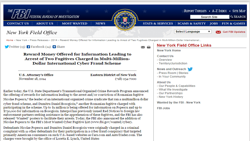 FBI Offering $1 Million Reward for Two Romanian Cyber Criminals