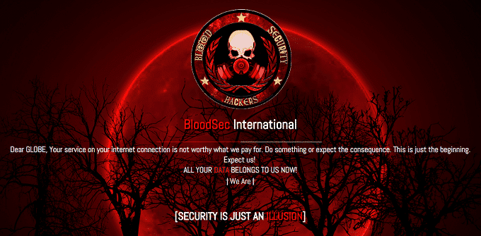 Globe Website Hacked, Poor Internet Service is not Worth what is paid, Hacker Says