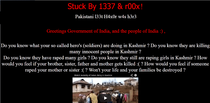 Indian Government websites hacked and defaced by Pakistani hackers