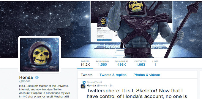 Honda's verified Twitter Account hacked by Skeletor