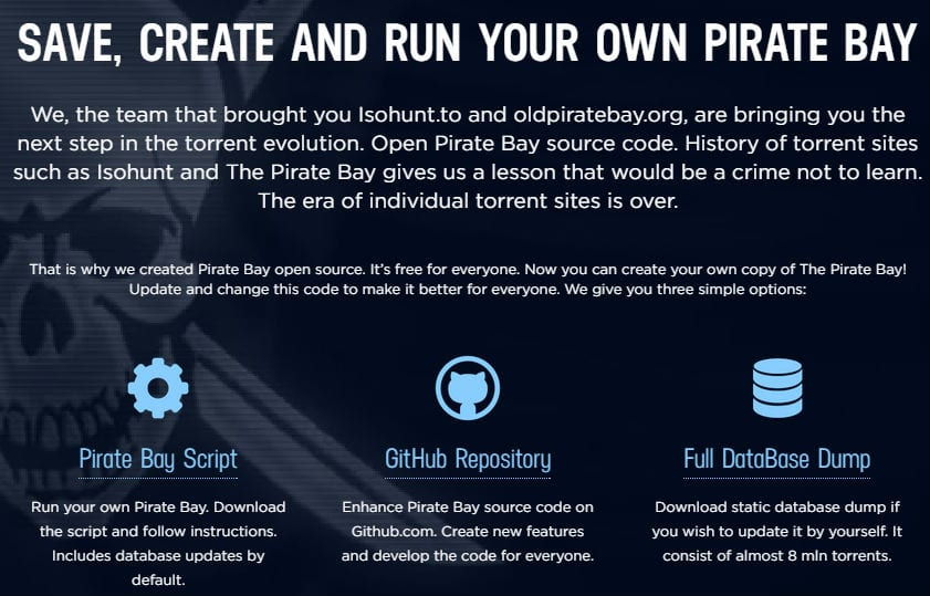 ISOHunt plans to swarm the internet with Pirate Bay copies by releasing The Open Bay