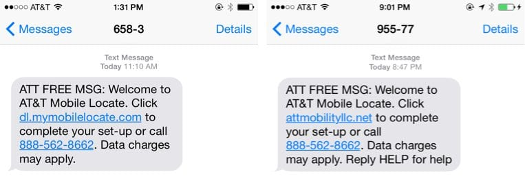 Spoofed AT&T Text Messages