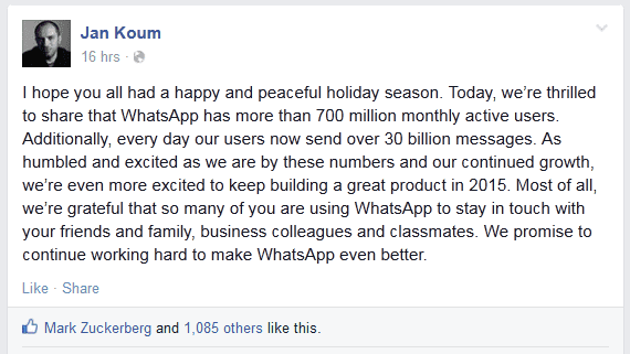 WhatsApp crosses 700 million users, with record 30 billion messages being sent everyday