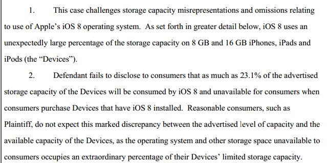 iOS 8 Shrinks Storage on 16GB iPhone and iPad; Users Sue Apple