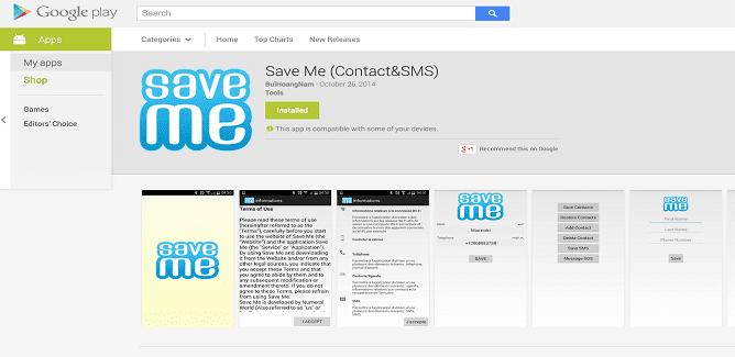 Save Me App on Google Play is actually SocialPath malware