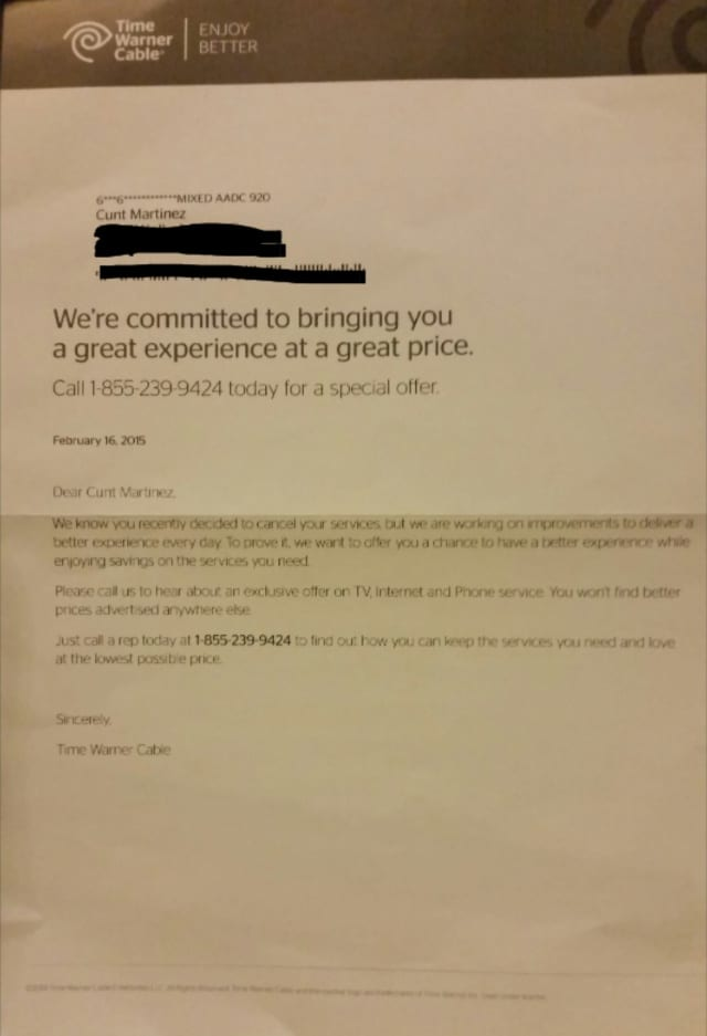 "Now Time Warner Cable takes example of Comcast and calls customer a ""Cu*t"""