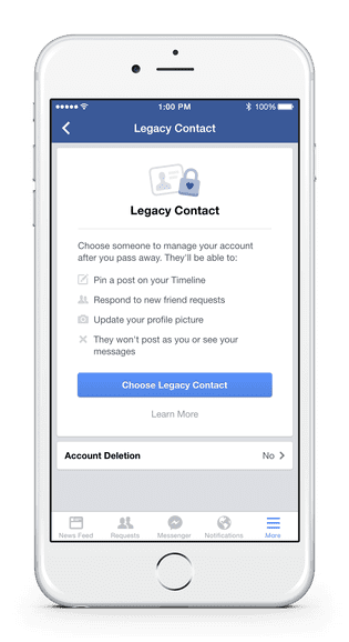 Facebook's new Legacy Contact feature lets you add a contact who can manage your Facebook page after you die
