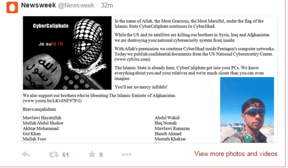 Newsweek Twitter Account Hacked by ISIS Affiliated Hacker Cyber Caliphate