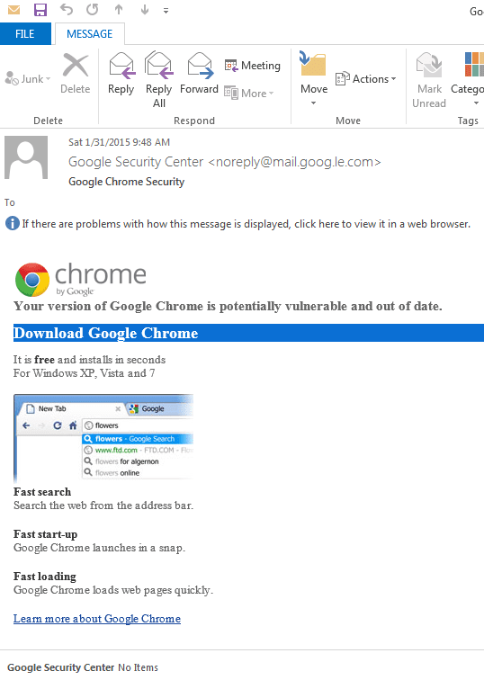 Google Chrome update Spam leads to CTB Locker/Critroni Ransomware