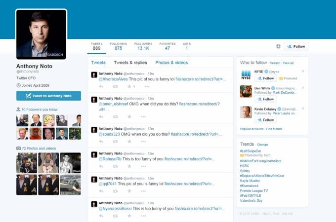 Twitter CFO, Anthony Noto's Twitter account hacked for a brief period on Tuesday.