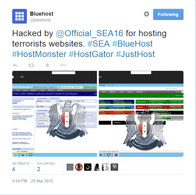 Syrian Electronic Army hacks Bluehost, Justhost, Hostgator, FastDomain and Hostmonster