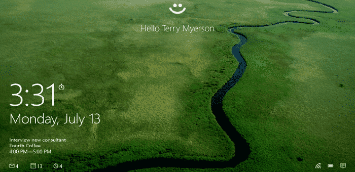 Windows Hello, a bio-metric authentication method will be used for signing into Windows 10