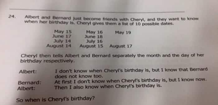 When the hell is Cheryl's birthday? : A math problem from Singapore goes viral