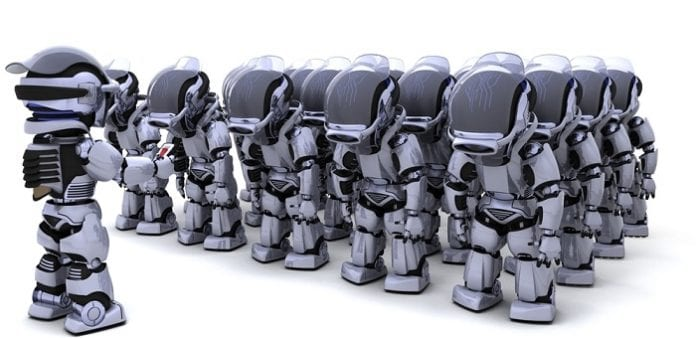 Google Army to become a reality : Google awarded a patents for a method to control a Robotic army