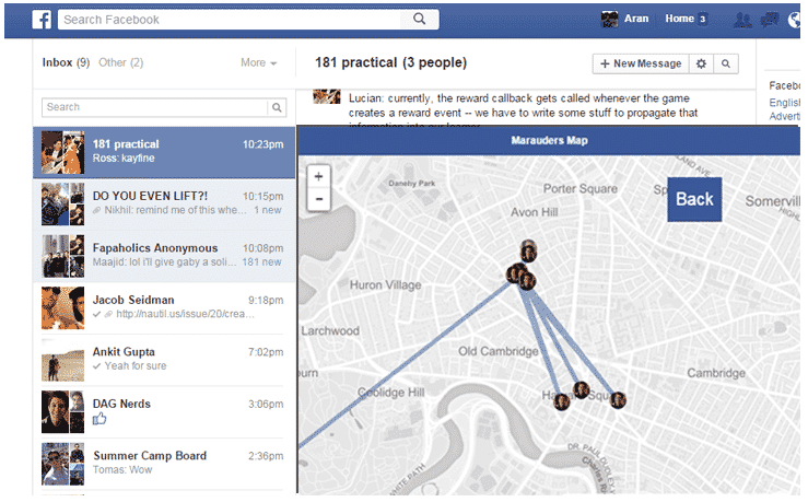 how to search for a friend in facebook with location